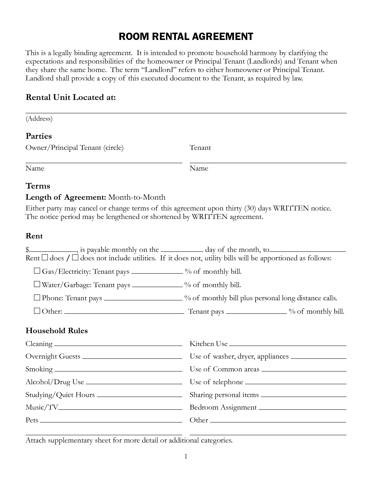 Sublet Rental Agreement Form