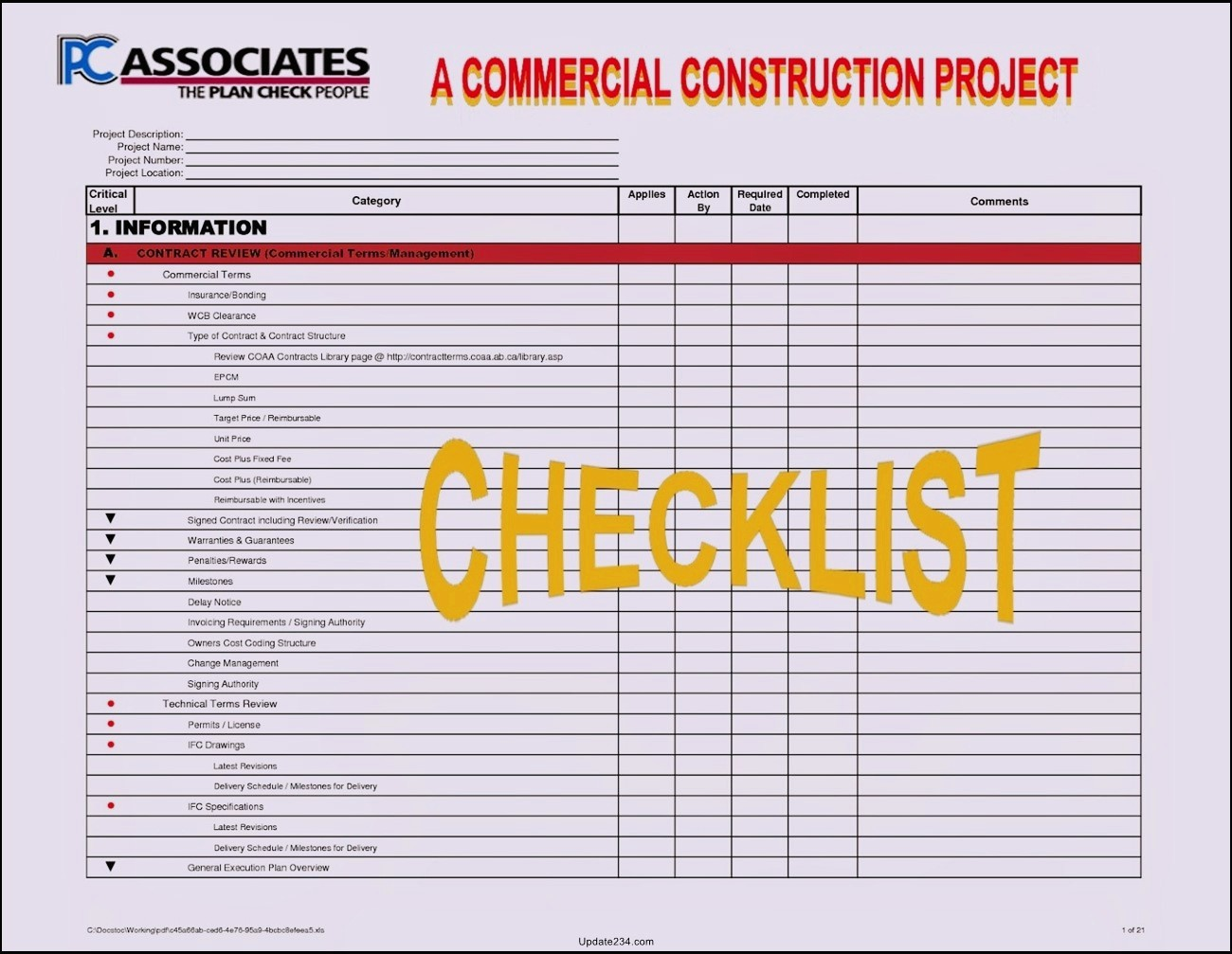 Submittal Forms For Construction