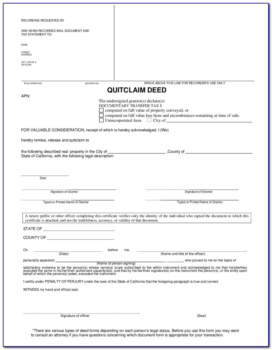 Summit County Ohio Quit Claim Deed Form