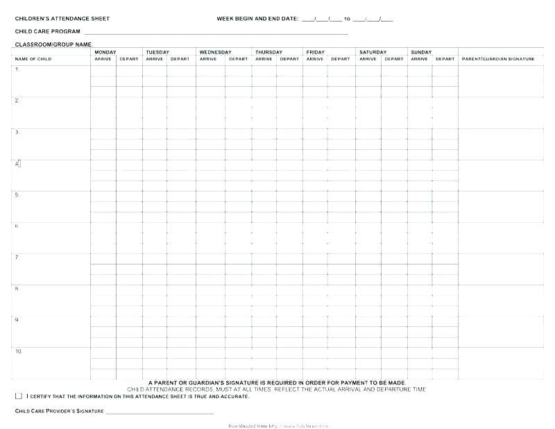 Sunday School Attendance Chart Templates Forms