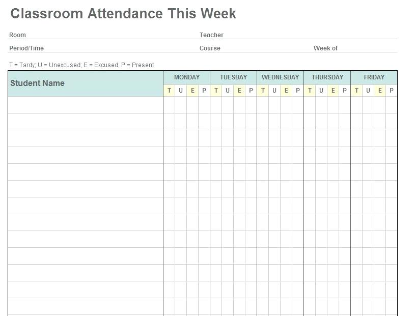 Sunday School Attendance Sheet Download