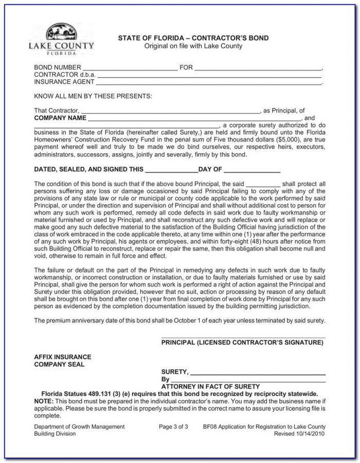 Surety Bond Form Florida