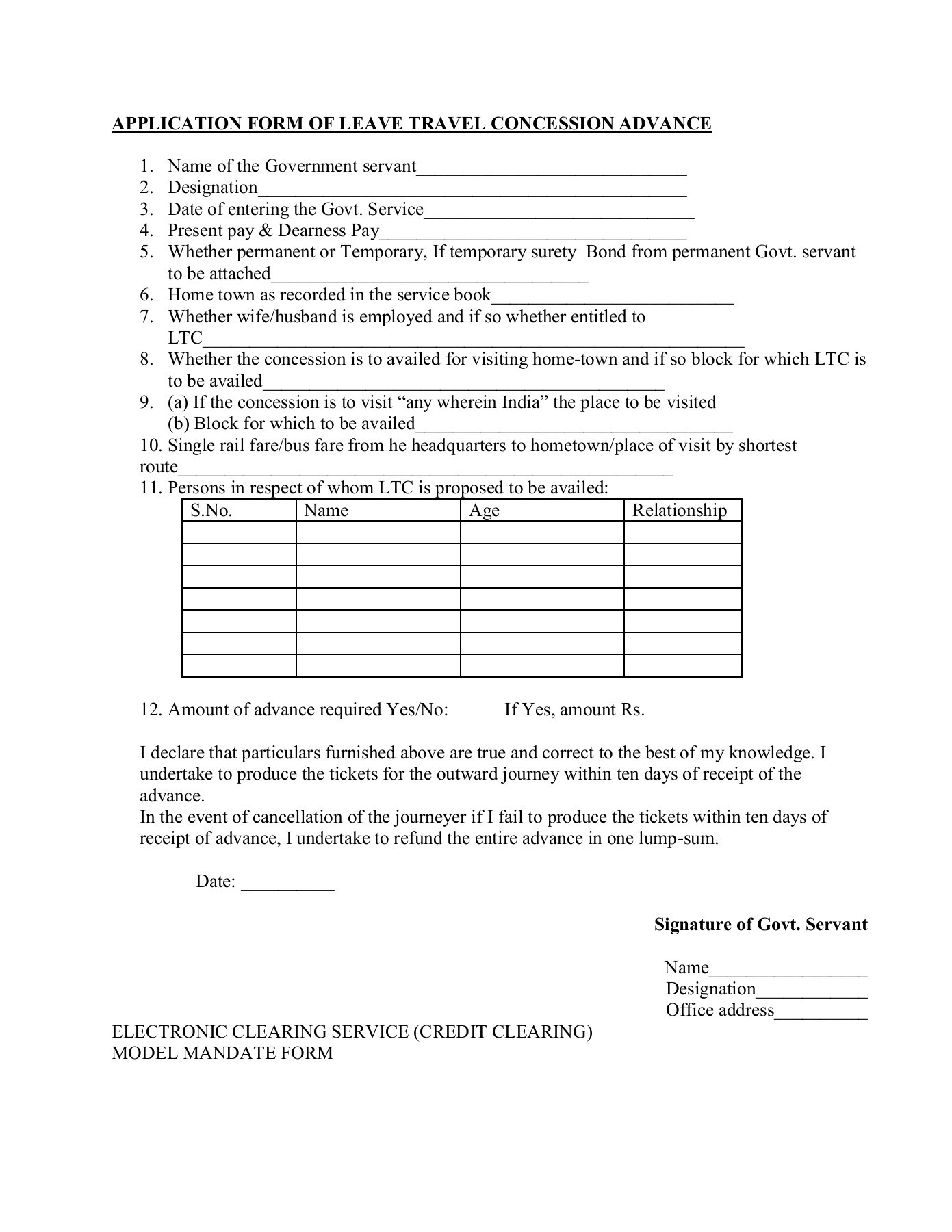Surety Bond Form For Ltc Advance