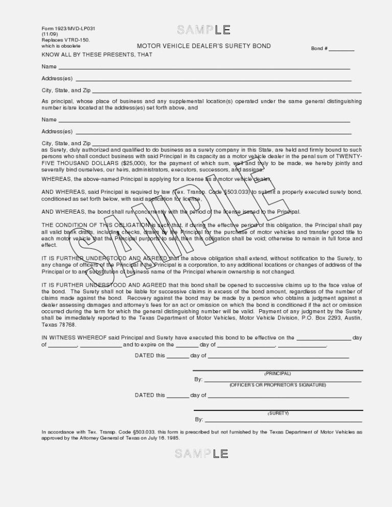 Surety Bond Form Vtr 130sb