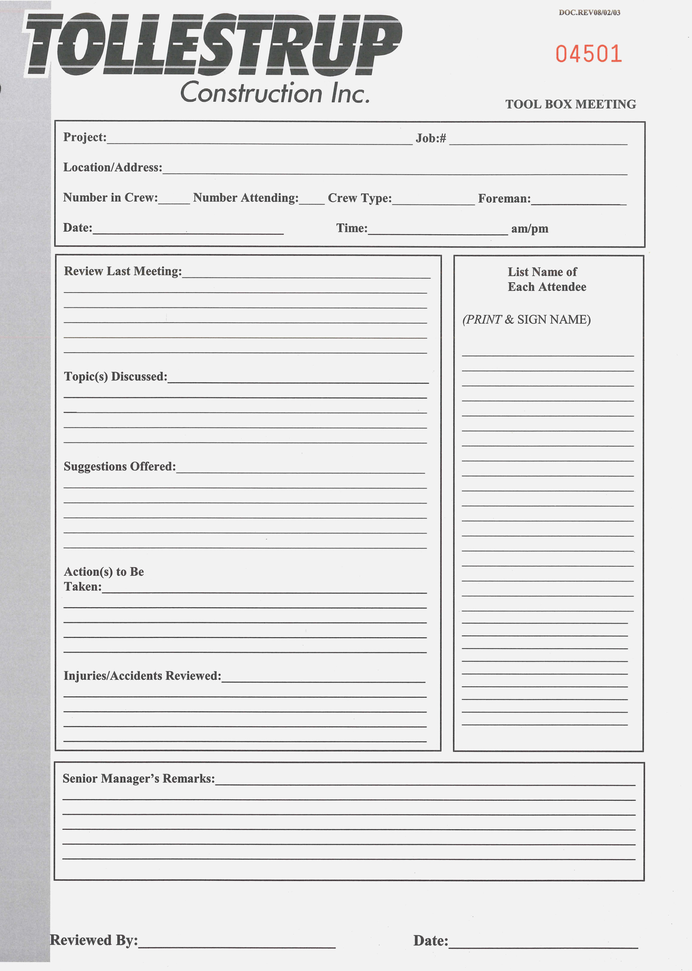 Tailgatetoolbox Safety Training Forms