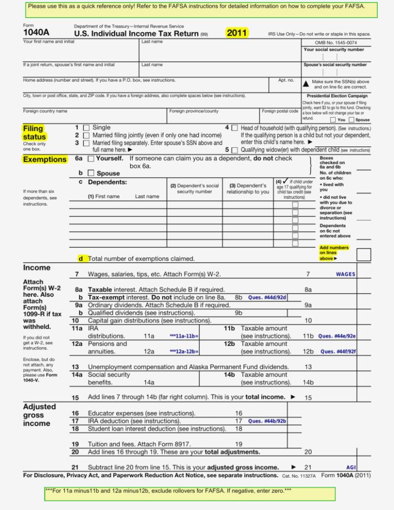 Tax Form 1040a 2014 Instructions