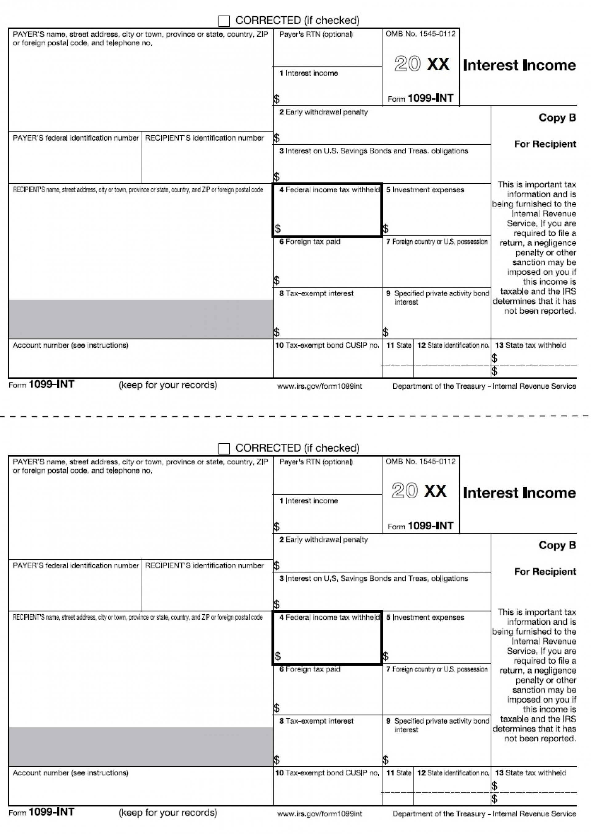 Tax Form 1099 Interest Income