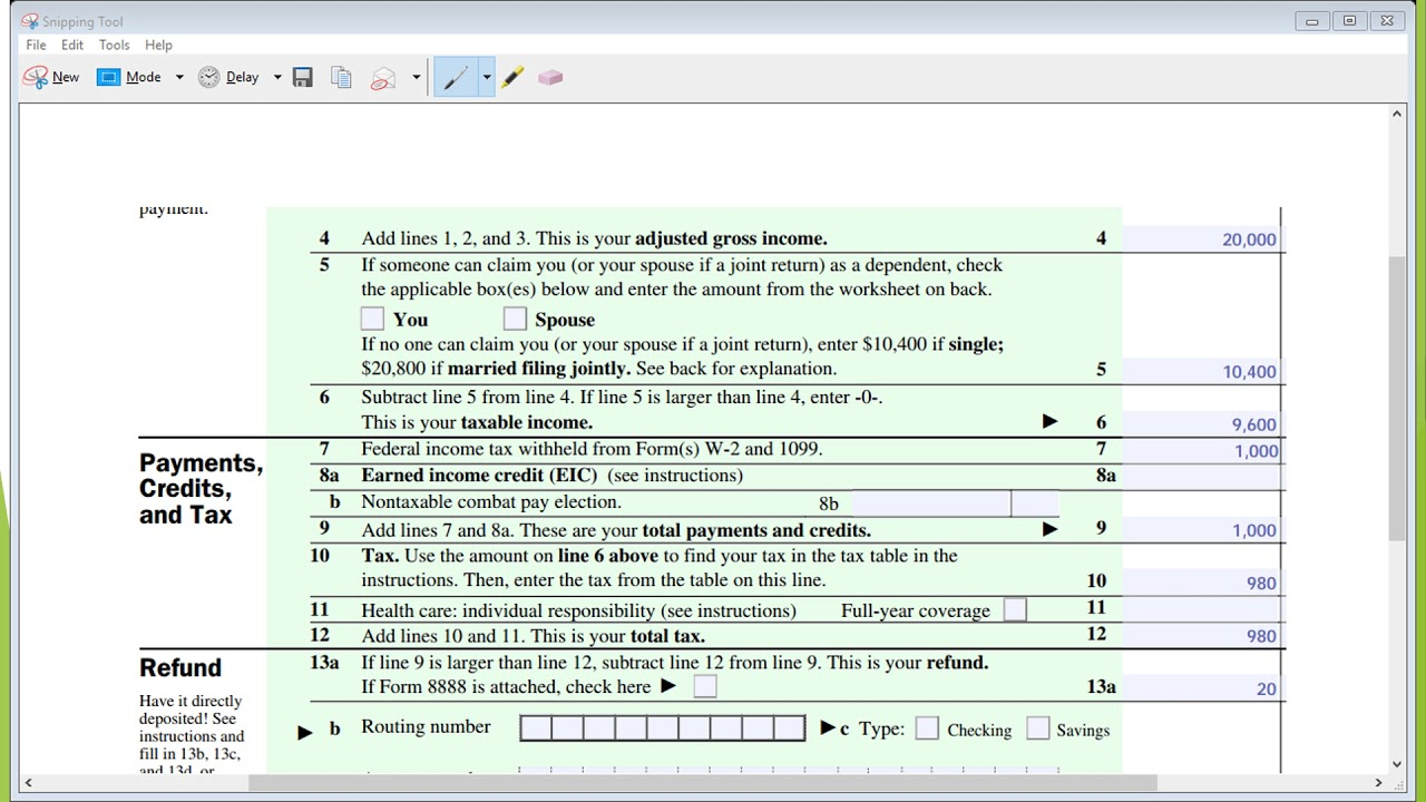 Tax Return Form 1040ez 2017