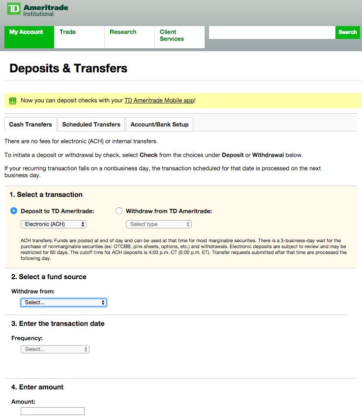 Td Ameritrade Ach Transfer Form