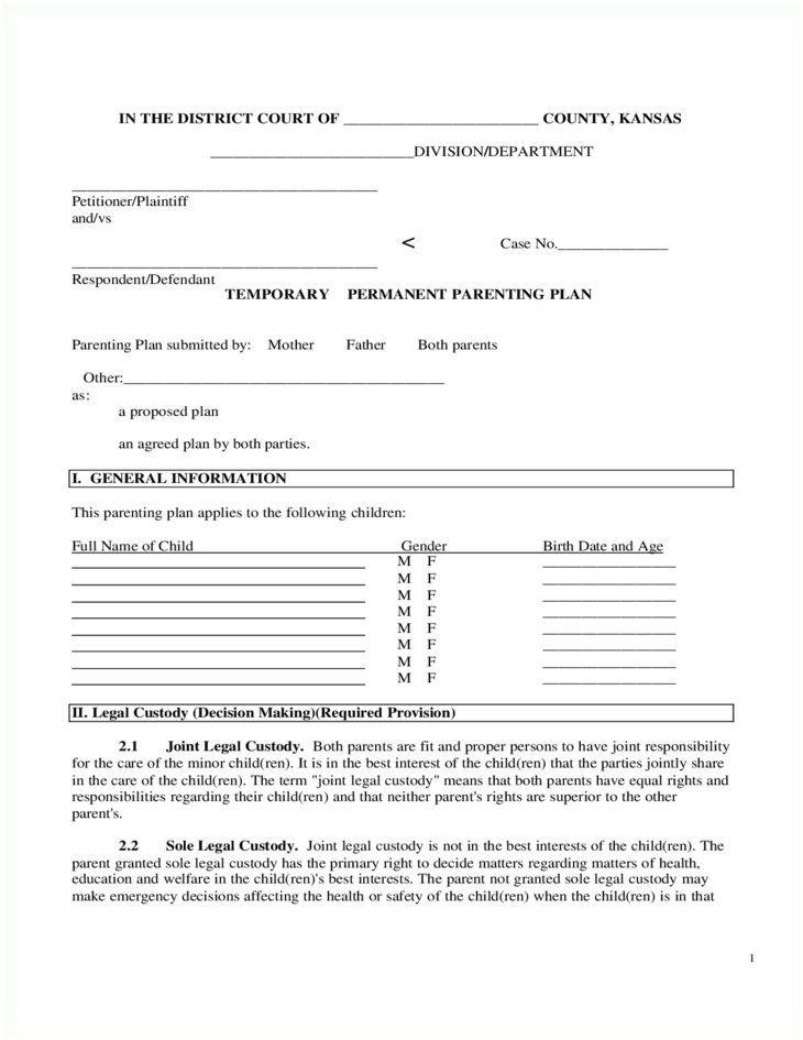 17 Child Custody Agreement Template Images Child Custody Agreements Examples Parenting Plan Child Custody Agreement Forms Download