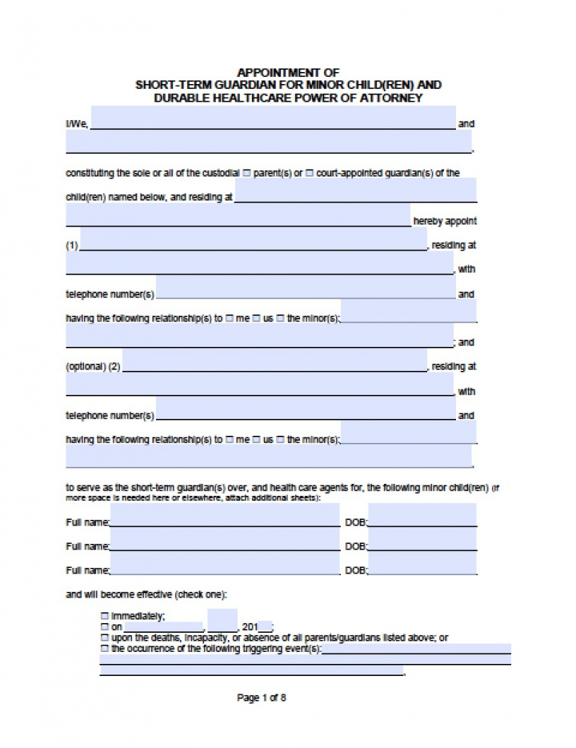The Sample Of Temporary Custody Agreement Form California Printable Just For You