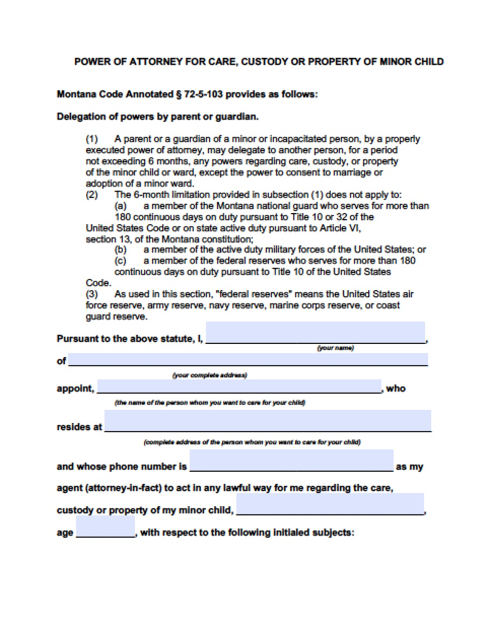 Temporary Guardianship Agreement Form Montana
