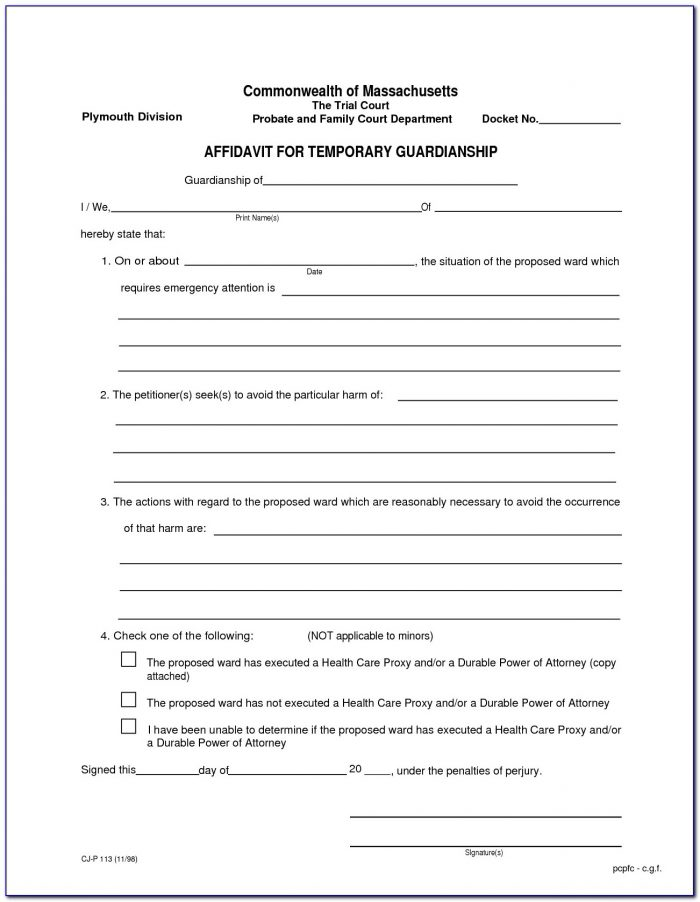 Temporary Guardianship Agreement Form Utah