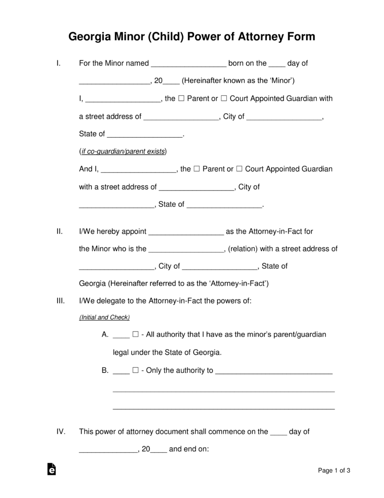 Temporary Guardianship Form For Grandparents In Georgia