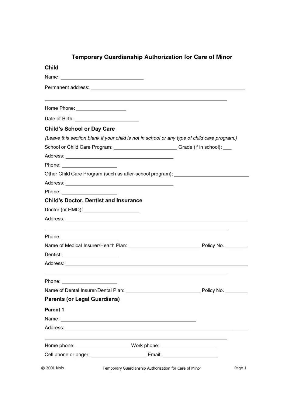 Temporary Legal Guardianship Form California