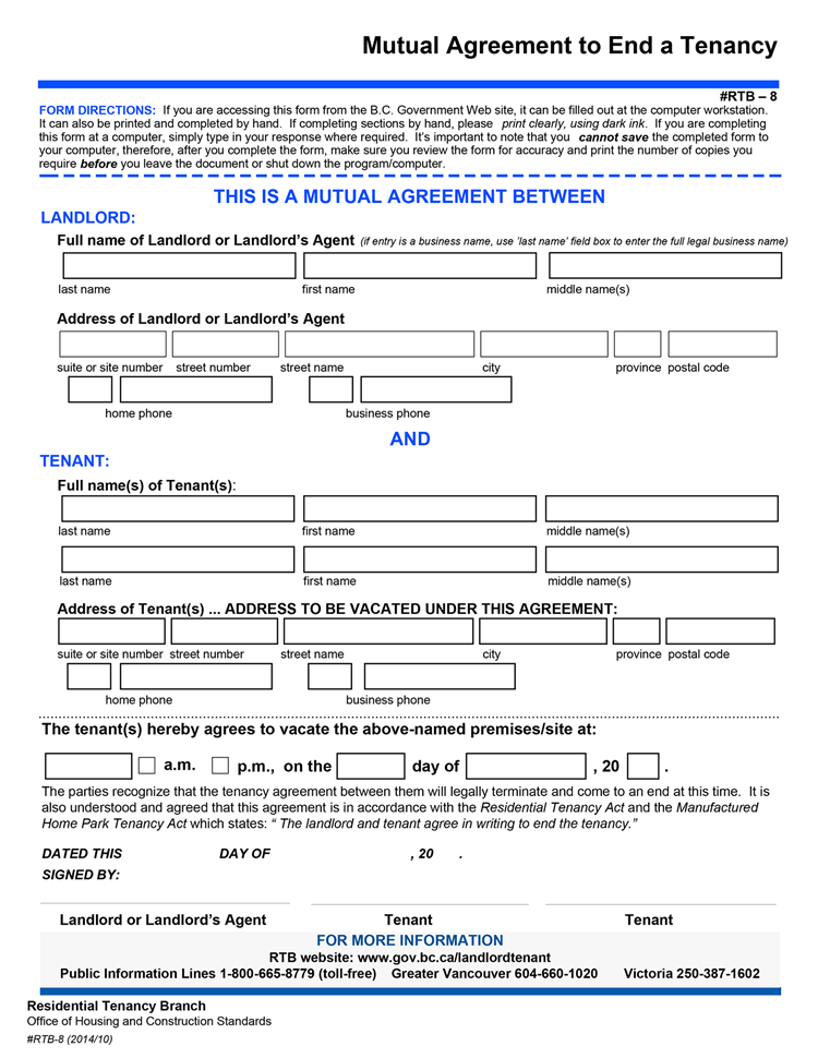 Tenancy Agreement Form Bc