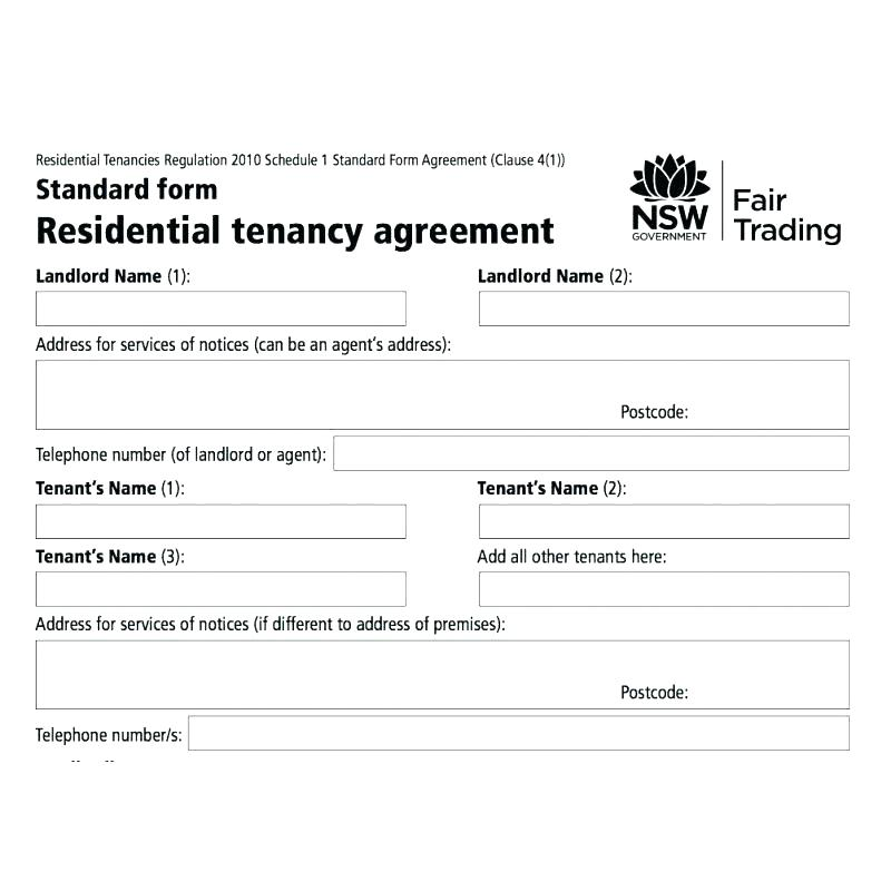 Tenancy Agreement Form Nsw