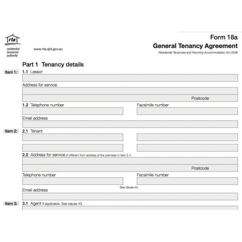 Tenancy Agreement Form Qld