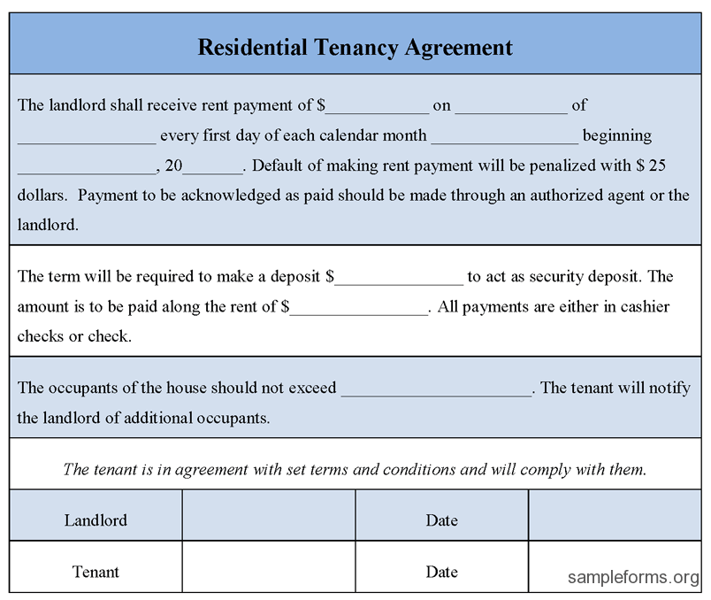 Tenancy Agreement Form Sample