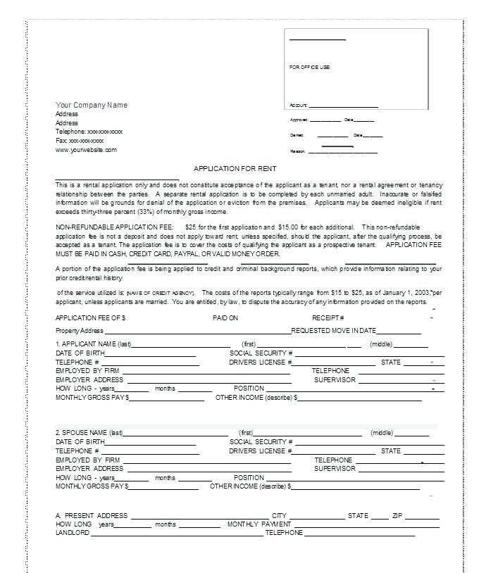 Tenancy Application Form Template Wa