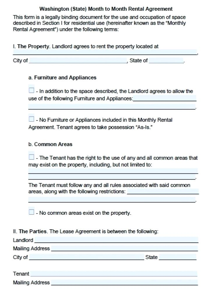 Tenancy Lease Agreement Form Wa