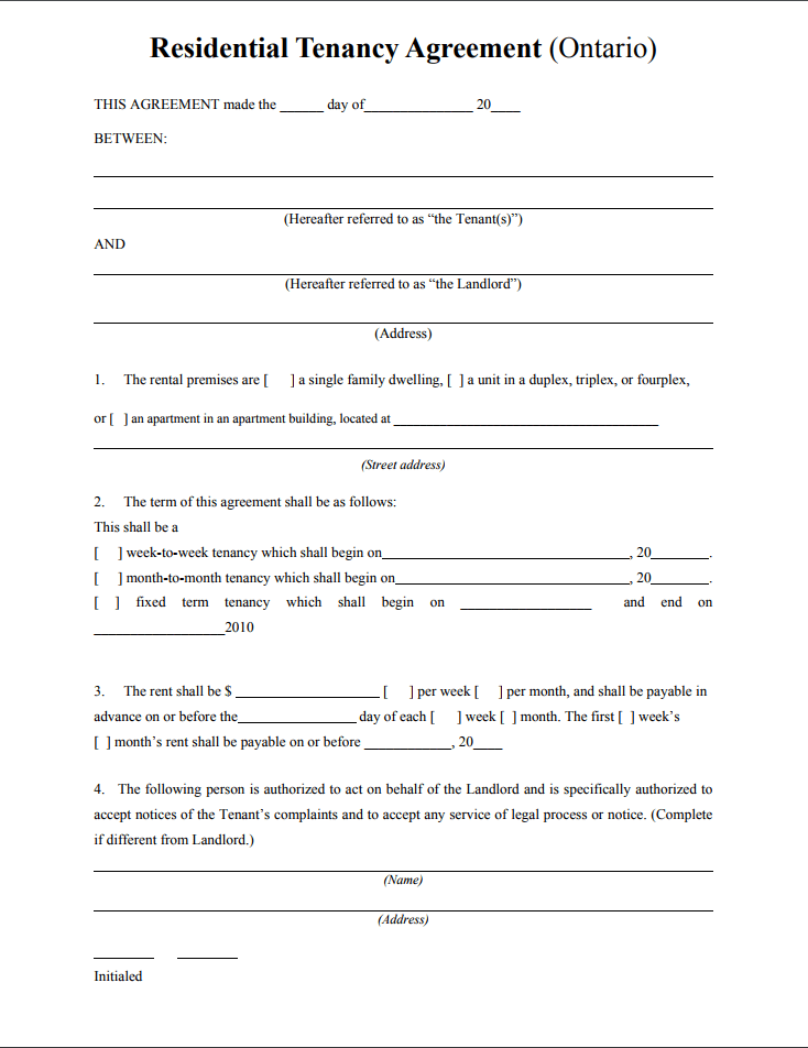 Tenant Agreement Form Template