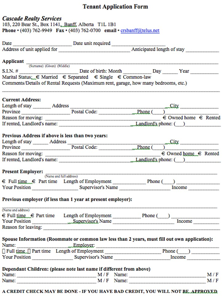 Tenant Application Form Doc