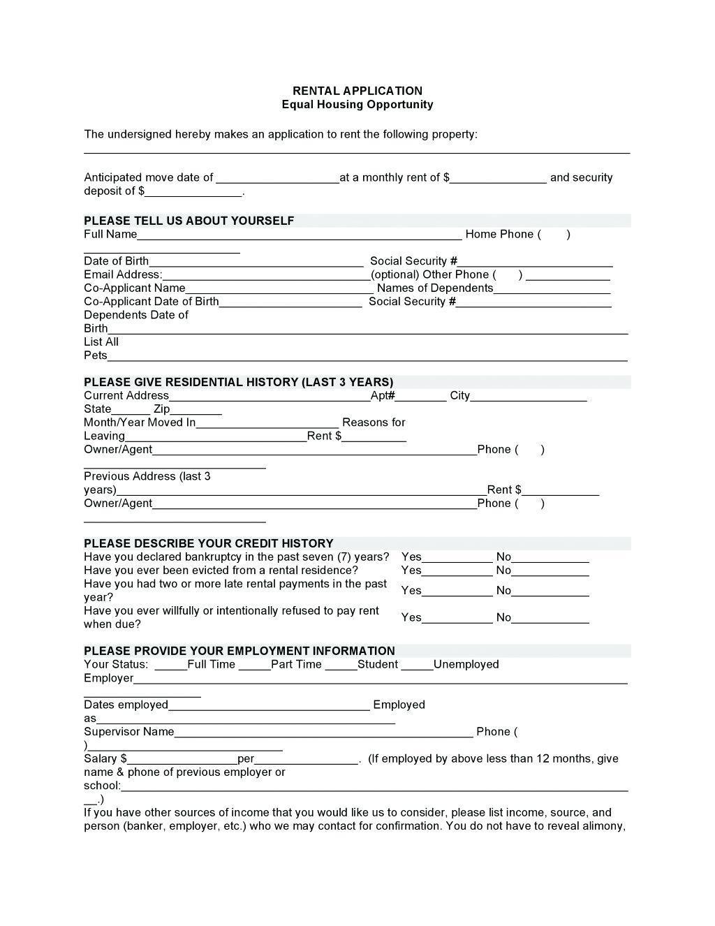 Tenant Application Form Nz