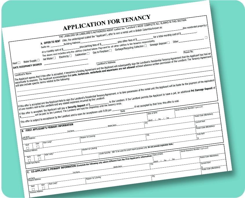 Tenant Application Form Template Ontario