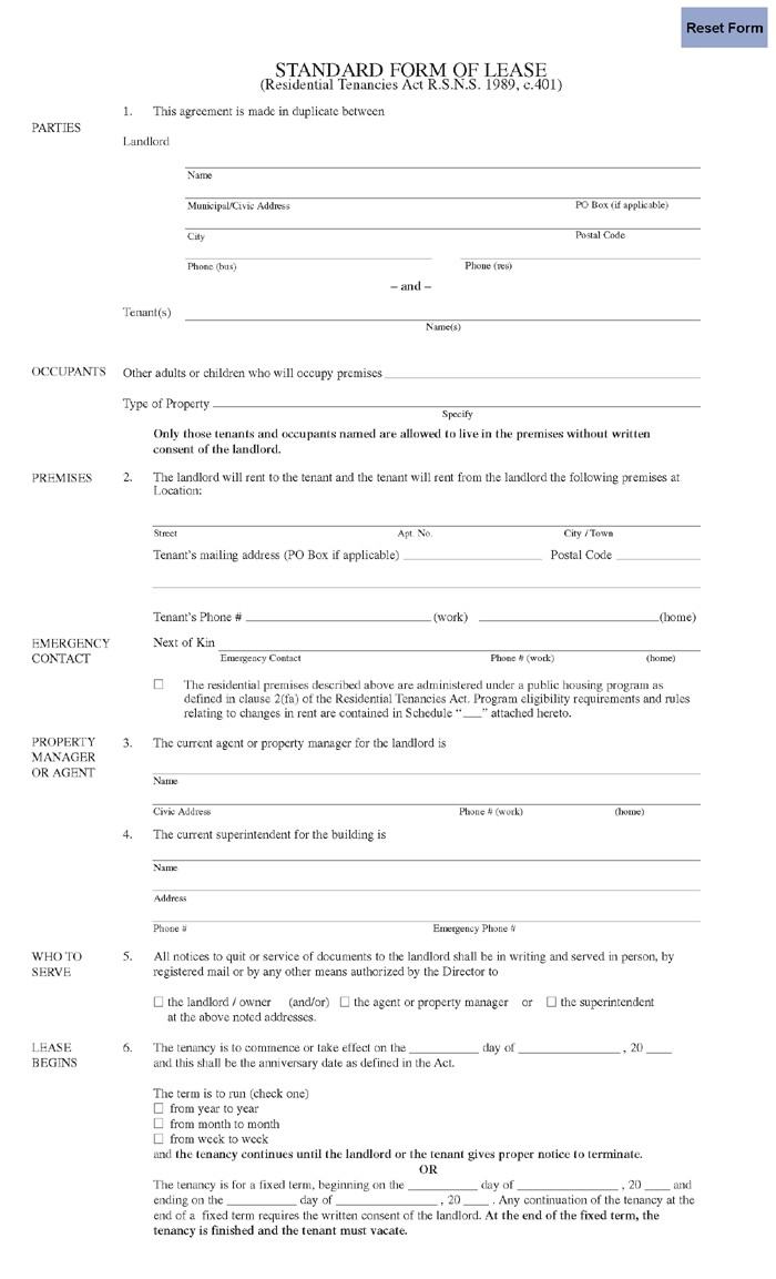 Tenant Lease Agreement Form Nova Scotia