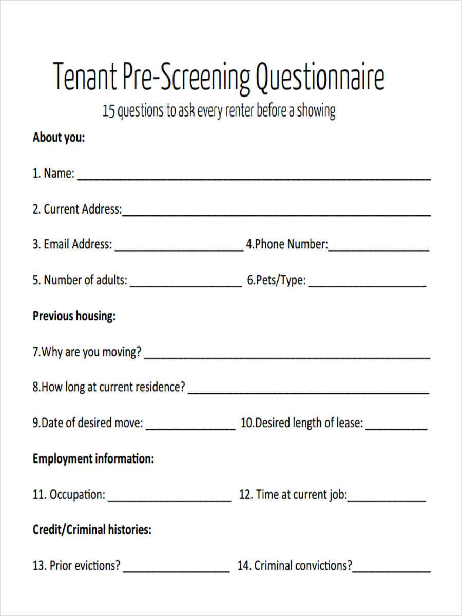 Tenant Pre Screening Form