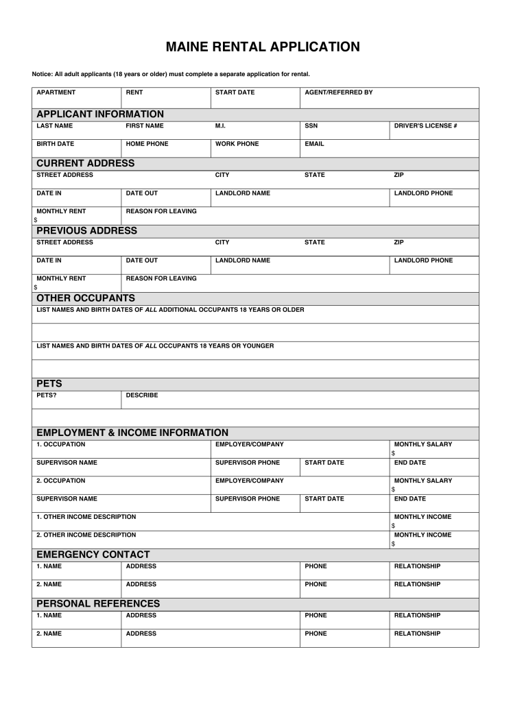 Tenant Screening Form Canada