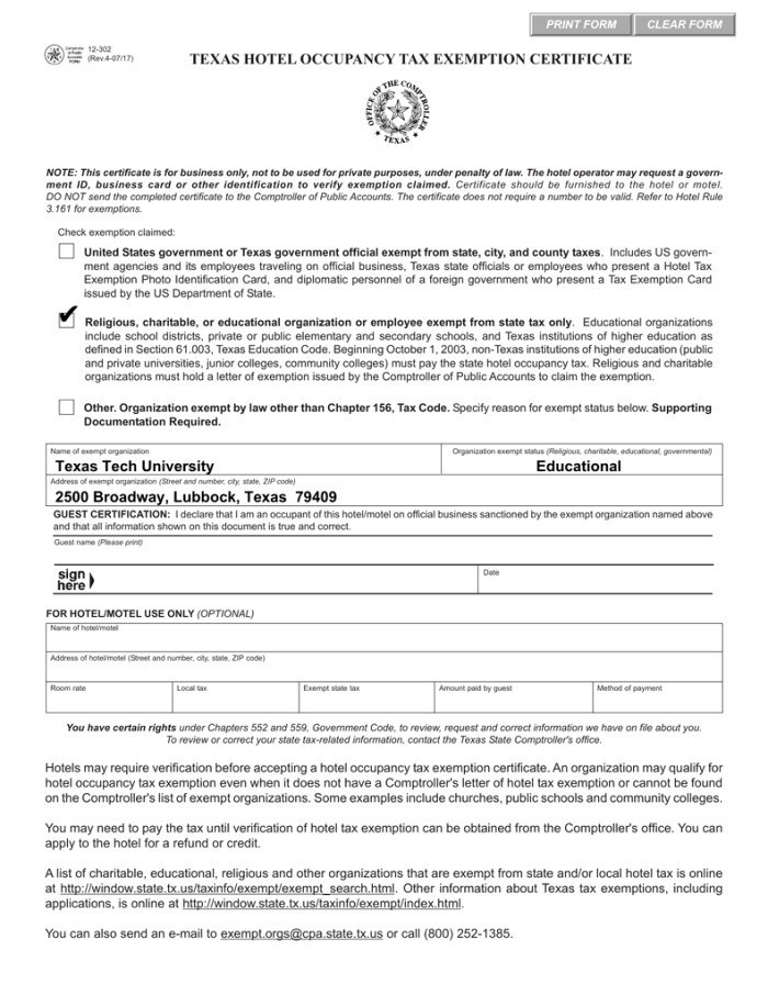 Tennessee Church Tax Exempt Form