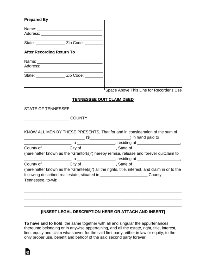 Tennessee Quit Claim Deed Form Pdf