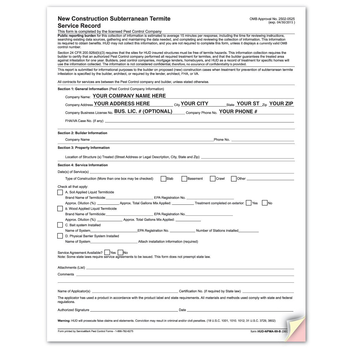 Termite Inspection Form 99b