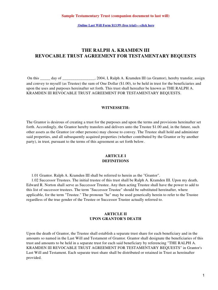 Testamentary Trust Document