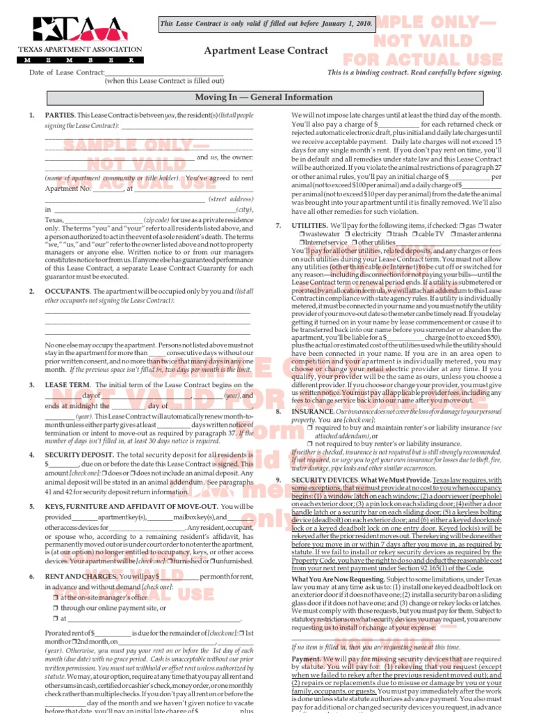 Texas Apartment Association Lease Contract Form