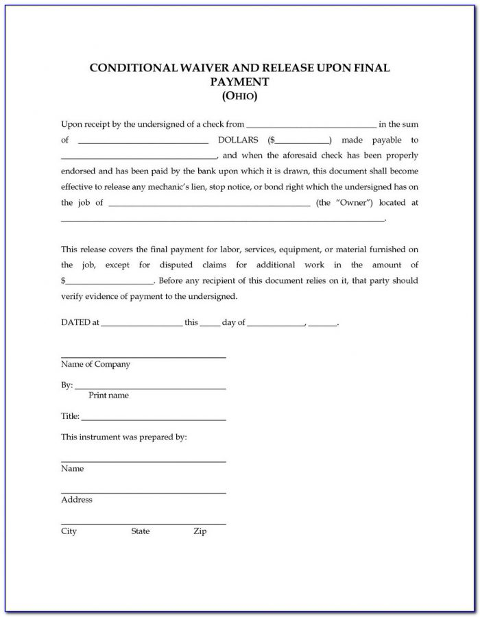 Texas Construction Lien Waiver Forms