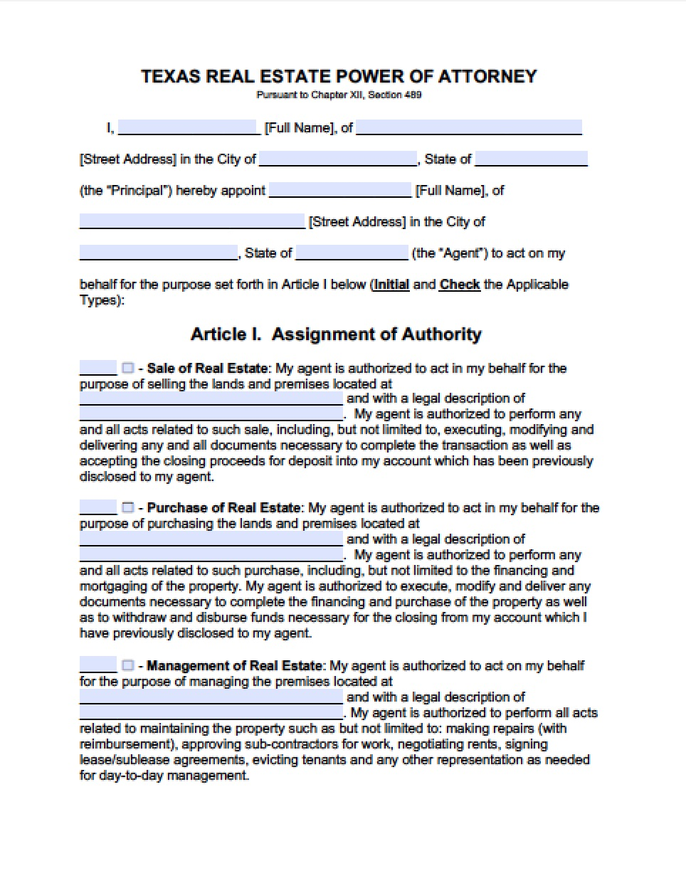 Texas Durable Power Of Attorney Form Word Document