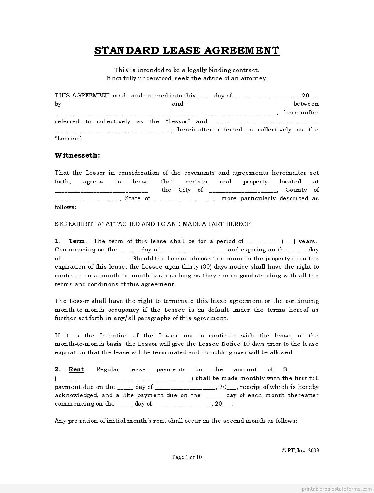 Texas House Rent Application Form