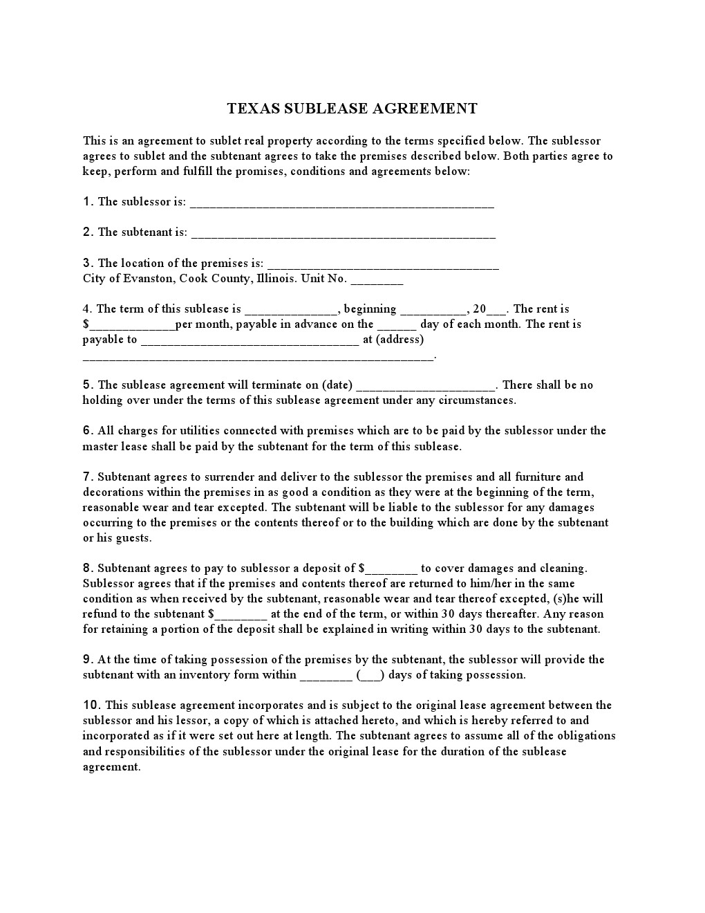 Texas Lease Agreement Form Pdf