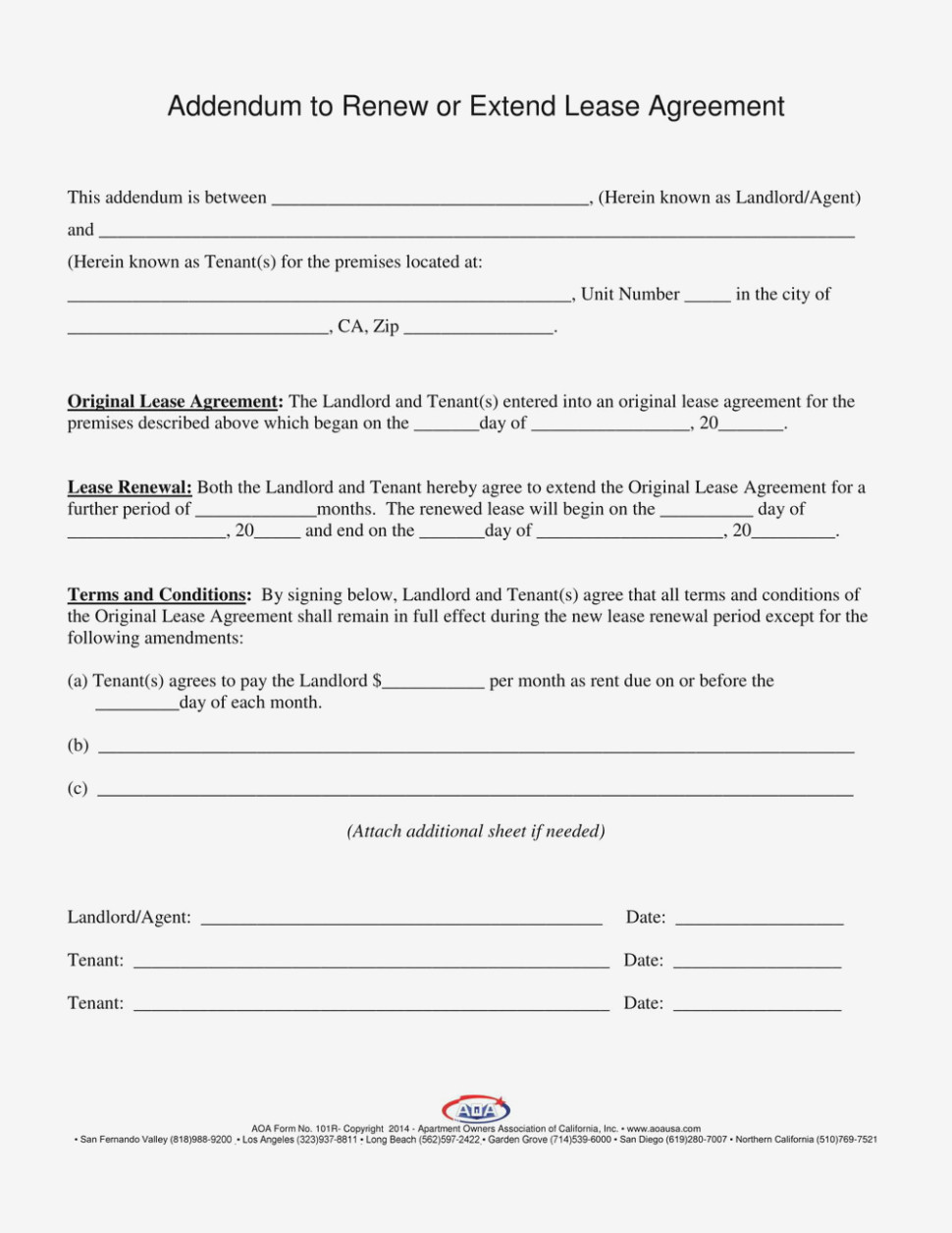 Texas Lease Extension Agreement Form