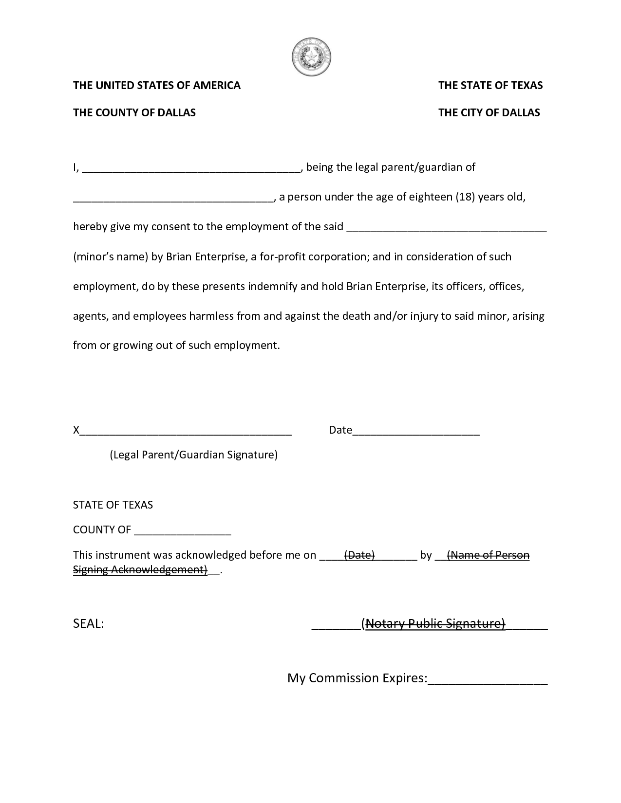 Texas Notary Acknowledgement Forms