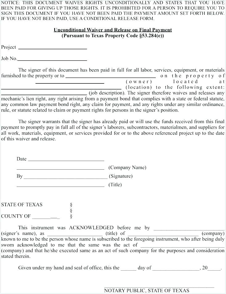 Texas Partial Lien Waiver Form