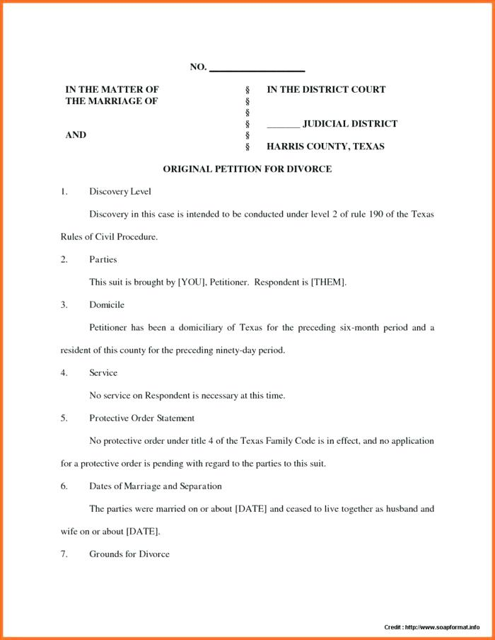 Texas Petition For Divorce Template