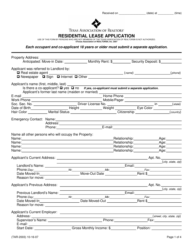 Texas Rental Application Form Free