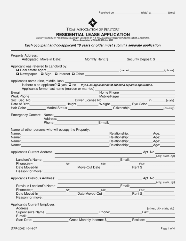 Texas Residential Rental Application Form