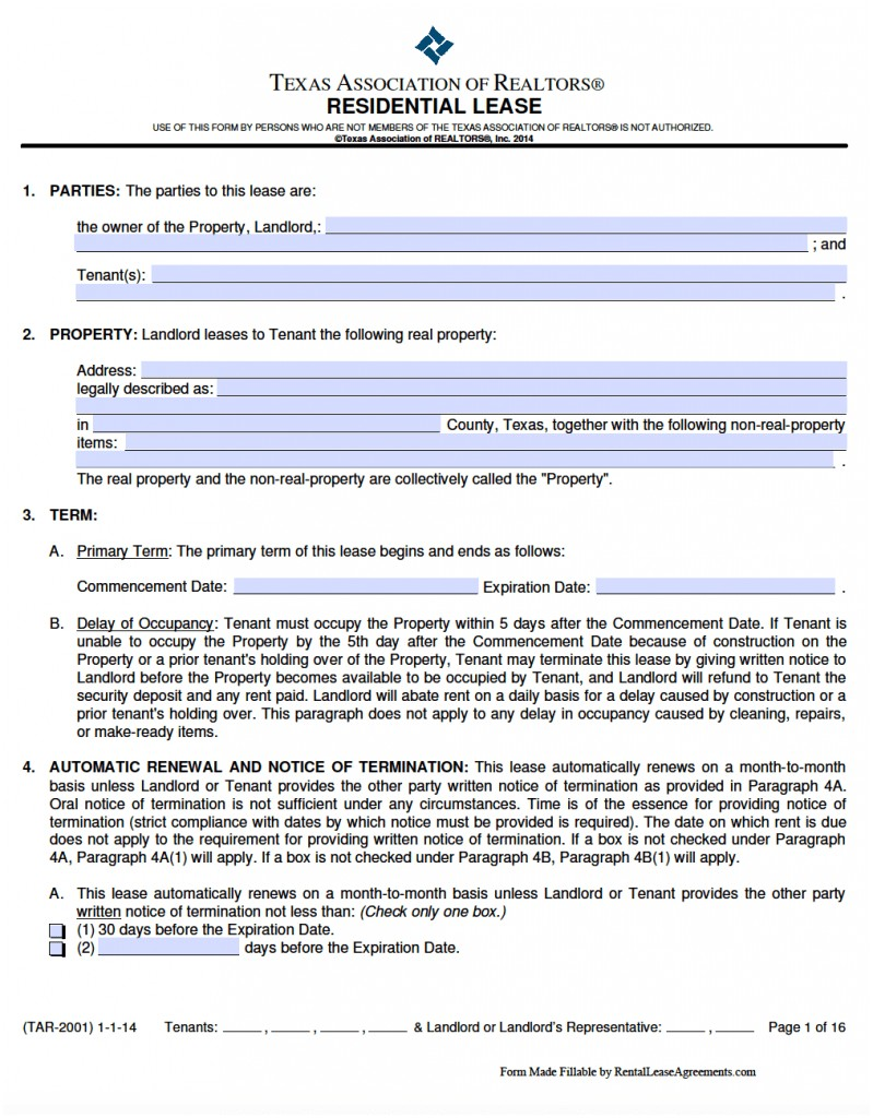 Texas Standard Lease Agreement Form
