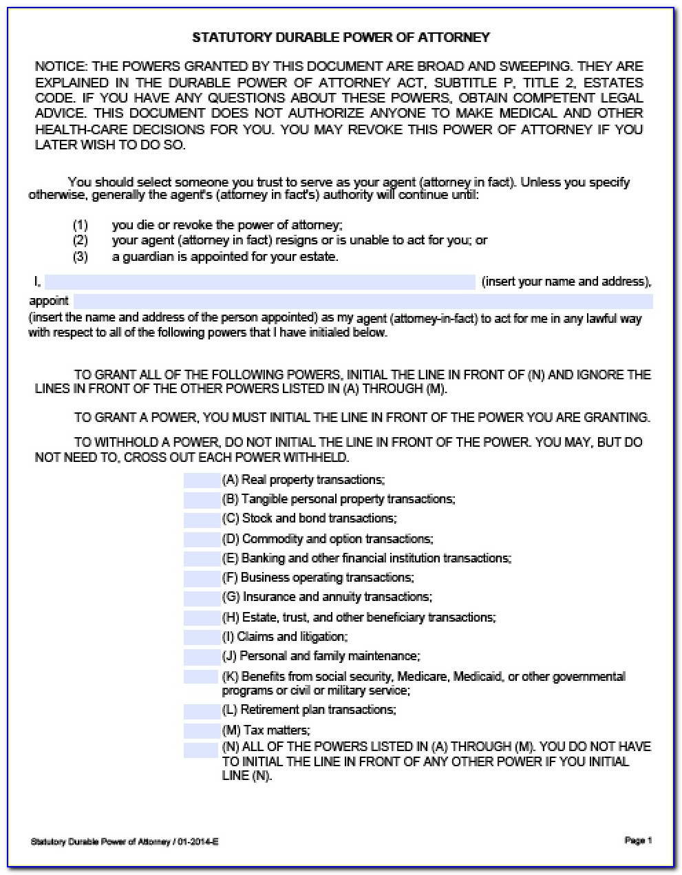 Texas Statutory Durable Power Of Attorney Form Free