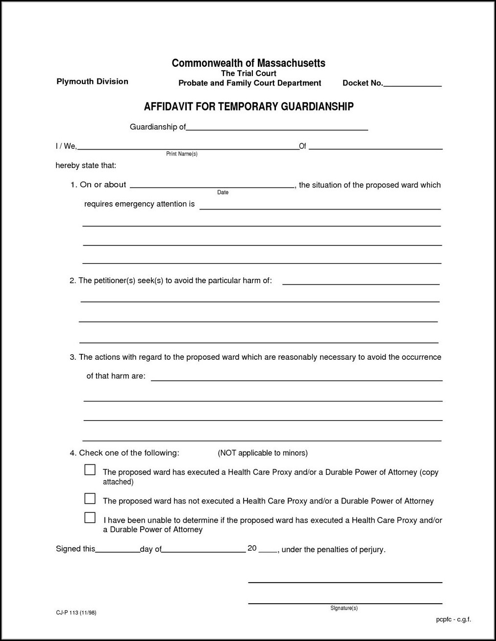 Texas Temporary Guardianship Form